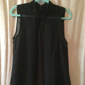 Blach Sheer Sleeveless Tunic Length Top